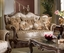 Marseille French Provincial Beige Chenille Sofa & Loveseat Set & Brown Finish