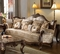 Marseille French Provincial Beige Sofa In Chenille And Dark Solid Wood