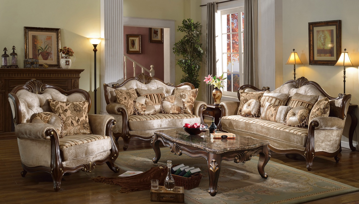 Marseille French Provincial Beige Chenille Sofa Amp Loveseat