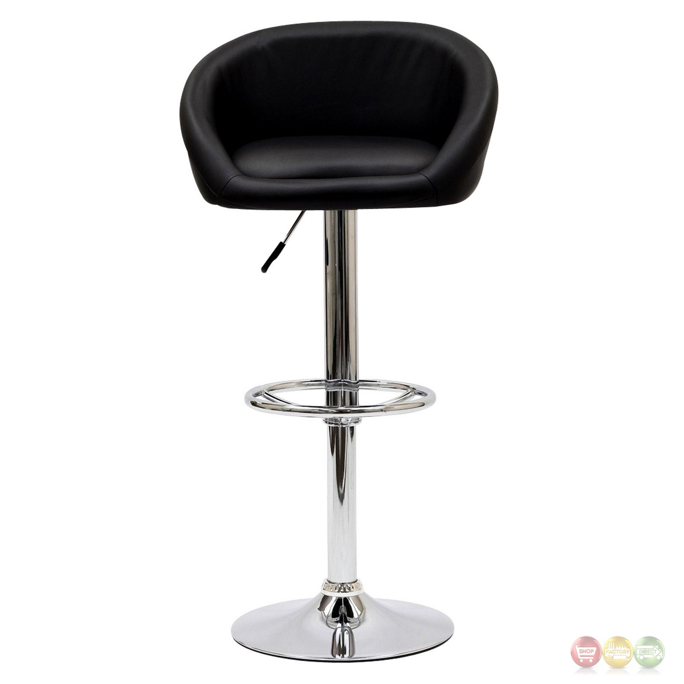 Marshmallow Modern Curbed Low Back Vinyl Bar Stool W