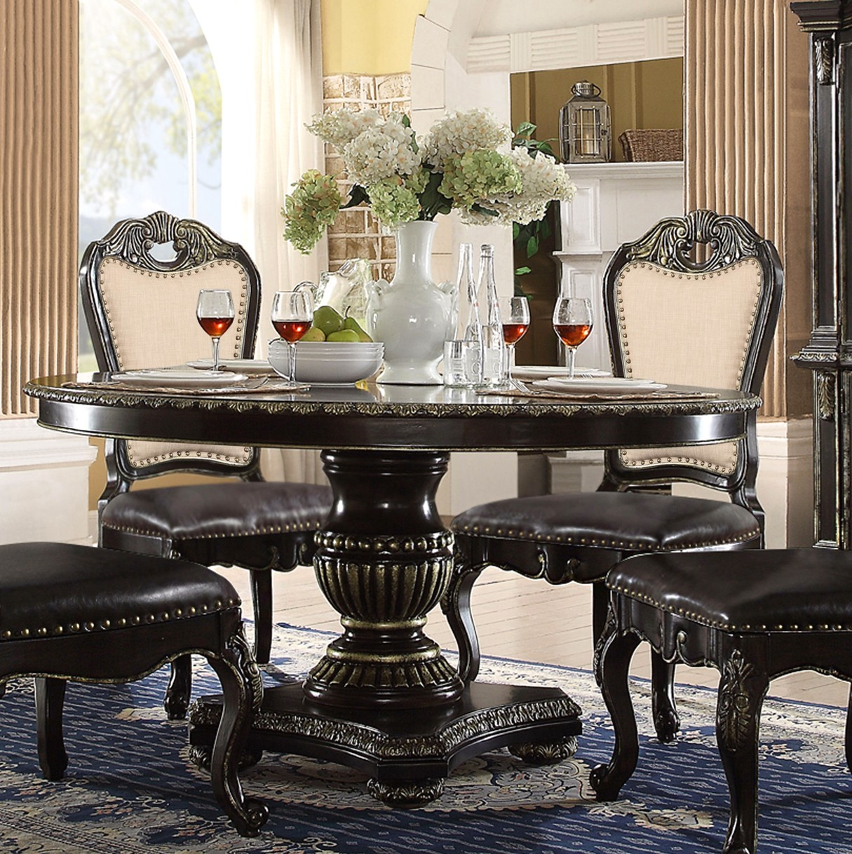 Matteo 60 Quot Round Marble Gothic Dining Table In Ebony