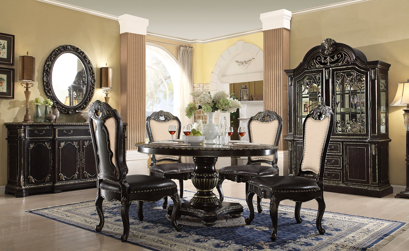 Matteo 60 Round Marble Gothic Dining Table In Ebony Silver Finish