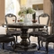 """Matteo 60"""" Round Marble Gothic Dining Table In Ebony & Silver Finish"""