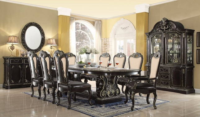 """Matteo 88"""" - 112"""" Gothic Style 5-pc Dining Set With Extensions In Ebony Finish"""