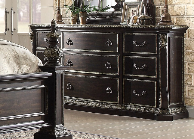 Matteo Gothic 9-drawer Dresser In Ebony Finish With Carved Details