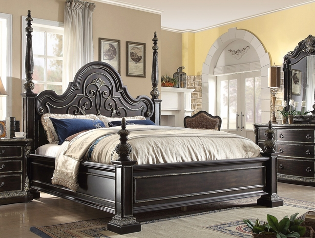 Matteo Gothic Style King Poster Bed In Ebony Finish With Carved Detail