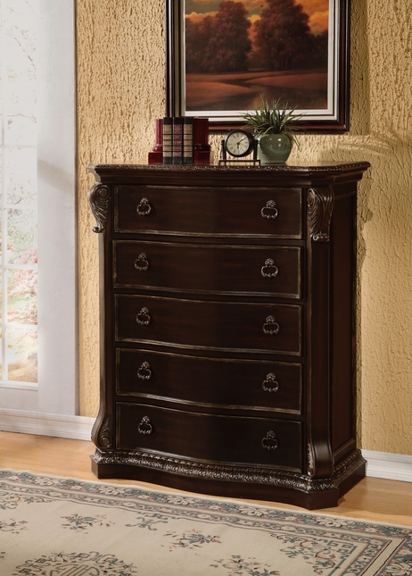 Matteo Gothic Style 5-drawer Chest In Ebony Finish With Carved Details