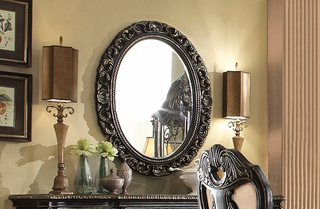 Matteo Gothic Style Oval Shaped Wall Mirror In A Ebony Finish