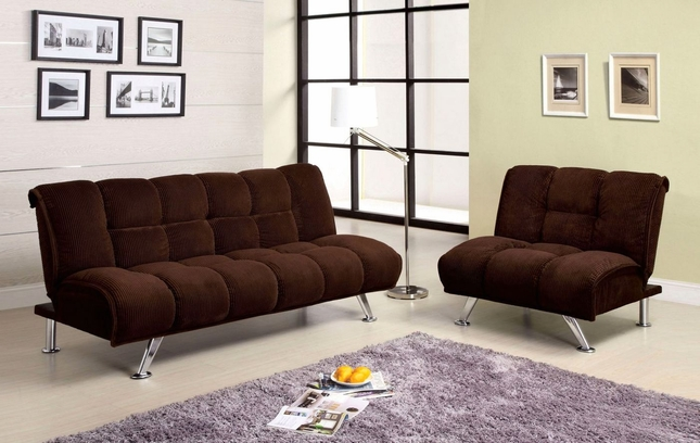Maybelle Contemporary Dark Chocolate Futon Sofabed w/Padded Corduroy