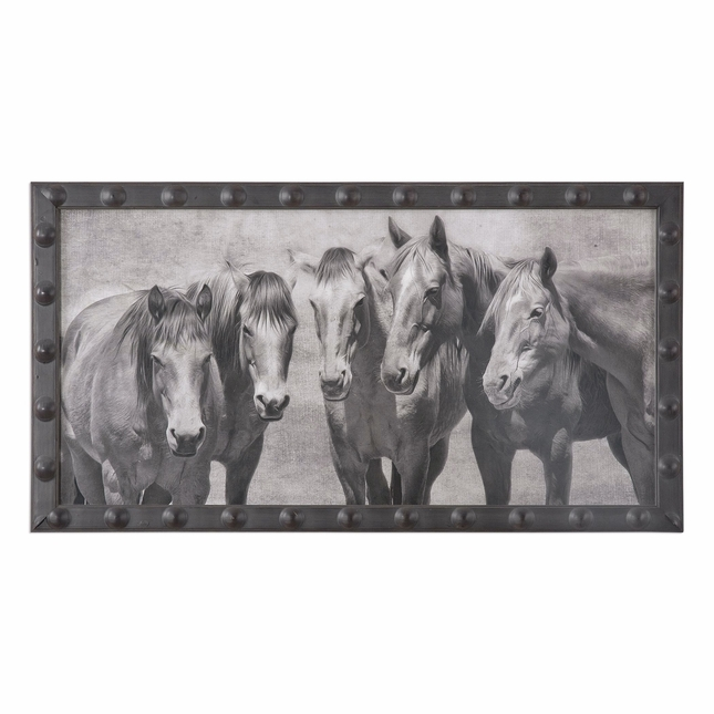 "Meeting Of The Minds 5 Horse Print Art On Black Frame With Glass Window, 35""x19"""