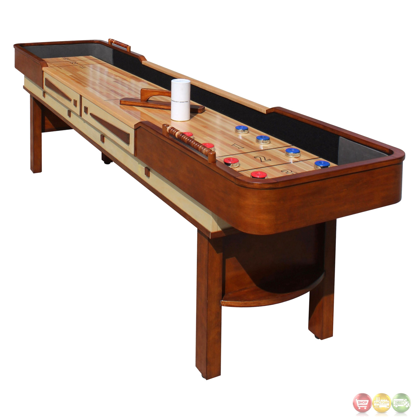 Discount Shuffleboard Tables Merlot 9-ft Shuffleboard Table In Natural Walnut W/ Climate Adjusters