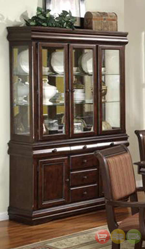 Merlot Traditional China Cabinet Buffet & Hutch Formal Dining Storage