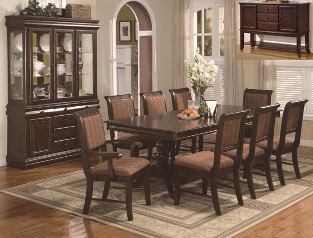 Merlot Traditional Double Pedestal Formal Dining Table and Chairs Set