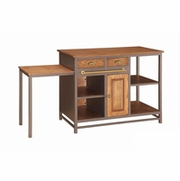 Metal And Wood 2 Drawer Kitchen Island With Pull-Out Table