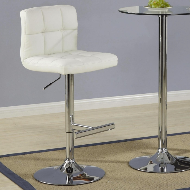 Metal Pedestal Base Set of 2 Padded Back Chrome Finish Barstools