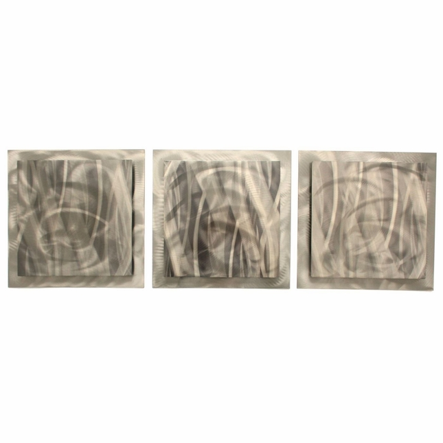 Metallic Essence Set of 3 Rippled Grind Pattern Metal Wall Art L0153