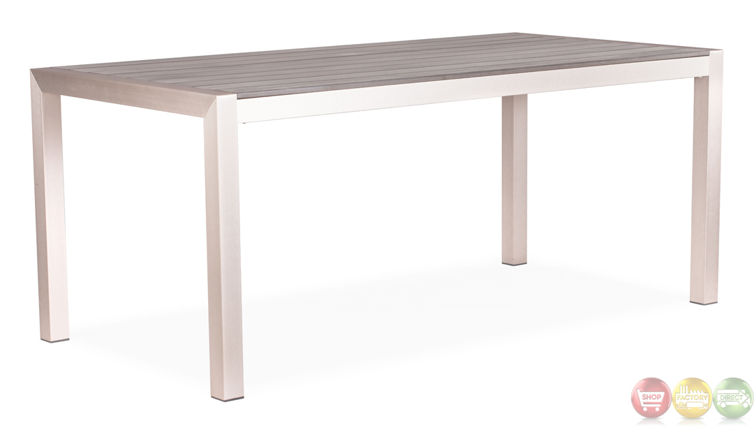 Brushed Aluminum Dining Table Zuo Modern 701861 Modern Outdoor