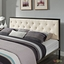 Mia Modern Solid Steel Platform Fabric Button-tufted King Bed, Brown Beige