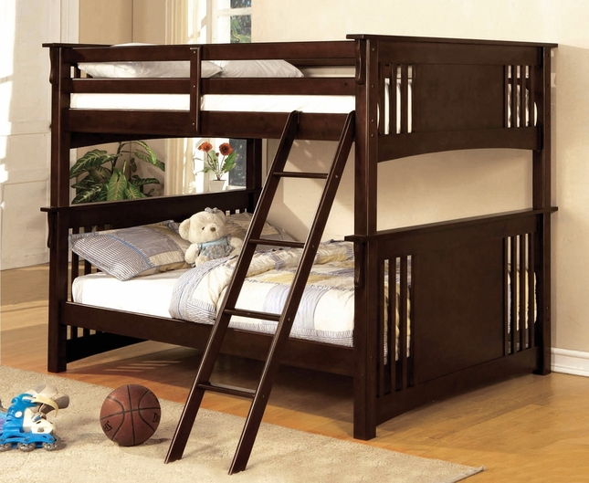 Miami II Mission Dark Walnut Bunk Bed with Angled Ladder