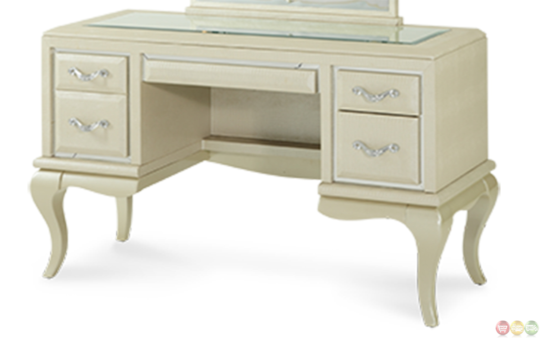 Michael Amini After Eight Pearl Croc Vanity Desk And Mirror By AICO