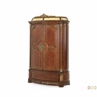 Michael Amini Antique Brass Villa Valencia Illuminated Armoire by AICO
