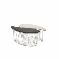Michael Amini Beverly Blvd Contemporary Oval 2pc Cocktail Table by AICO