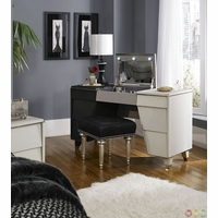 Michael Amini Beverly Blvd Contemporary Upholstered Vanity by AICO