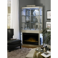 Michael Amini Beverly BLVD Pearl Caviar Fireplace w/Curio Top & Electric Insert by AICO