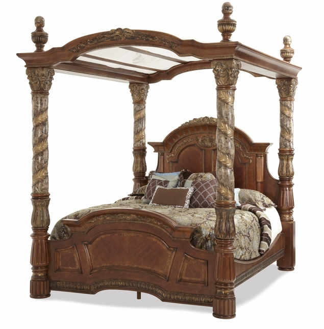 Michael Amini Carved Leaf Villa Valencia King Canopy Bed by AICO