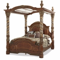 Michael Amini Chestnut Villa Valencia California King Canopy Bed AICO