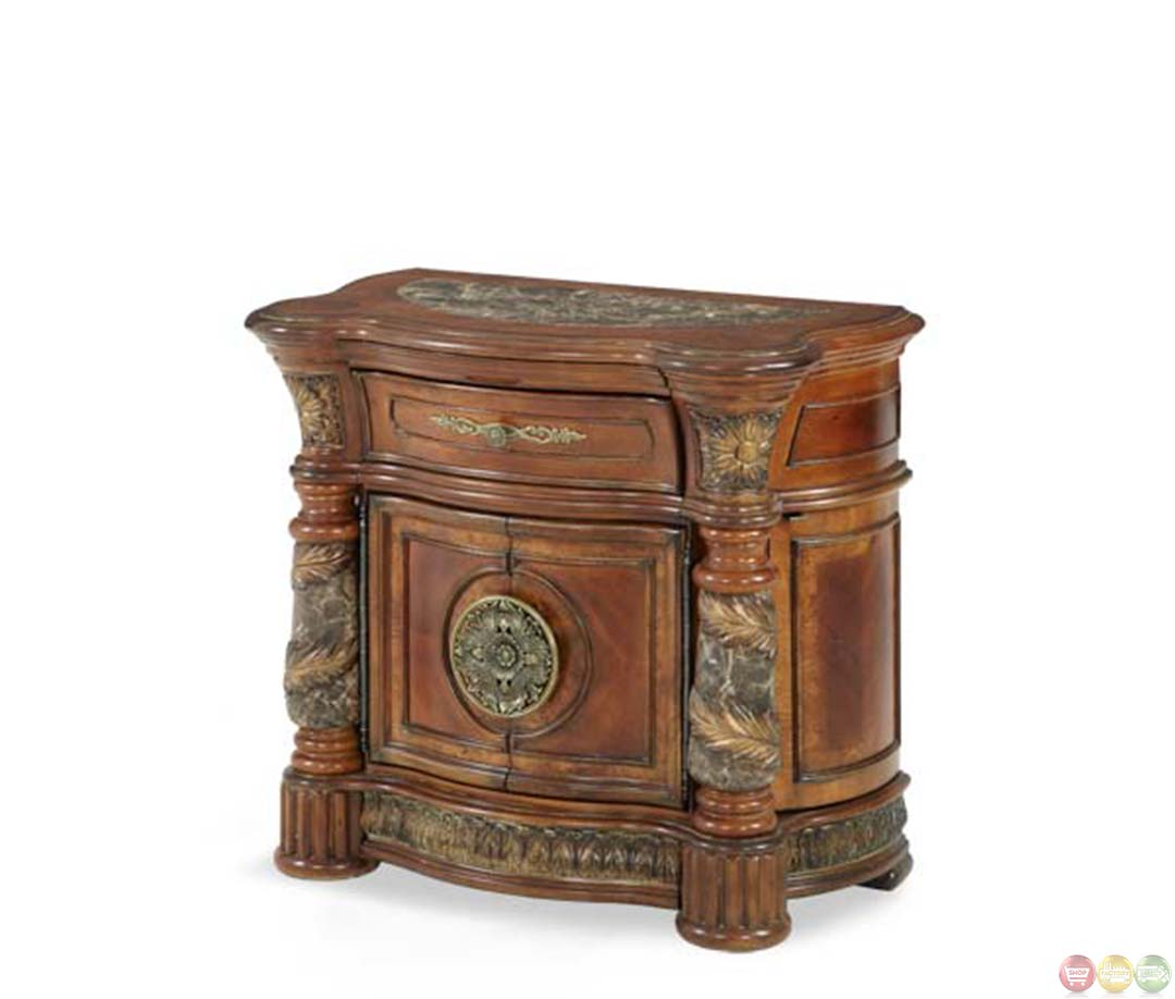 Valencia Carved Wood Traditional Bedroom Furniture Set 209000: Michael Amini Villa Valencia Nightstand Bedside Chest W