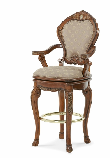 Michael Amini Cortina Traditional Honey Walnut Barstool by AICO