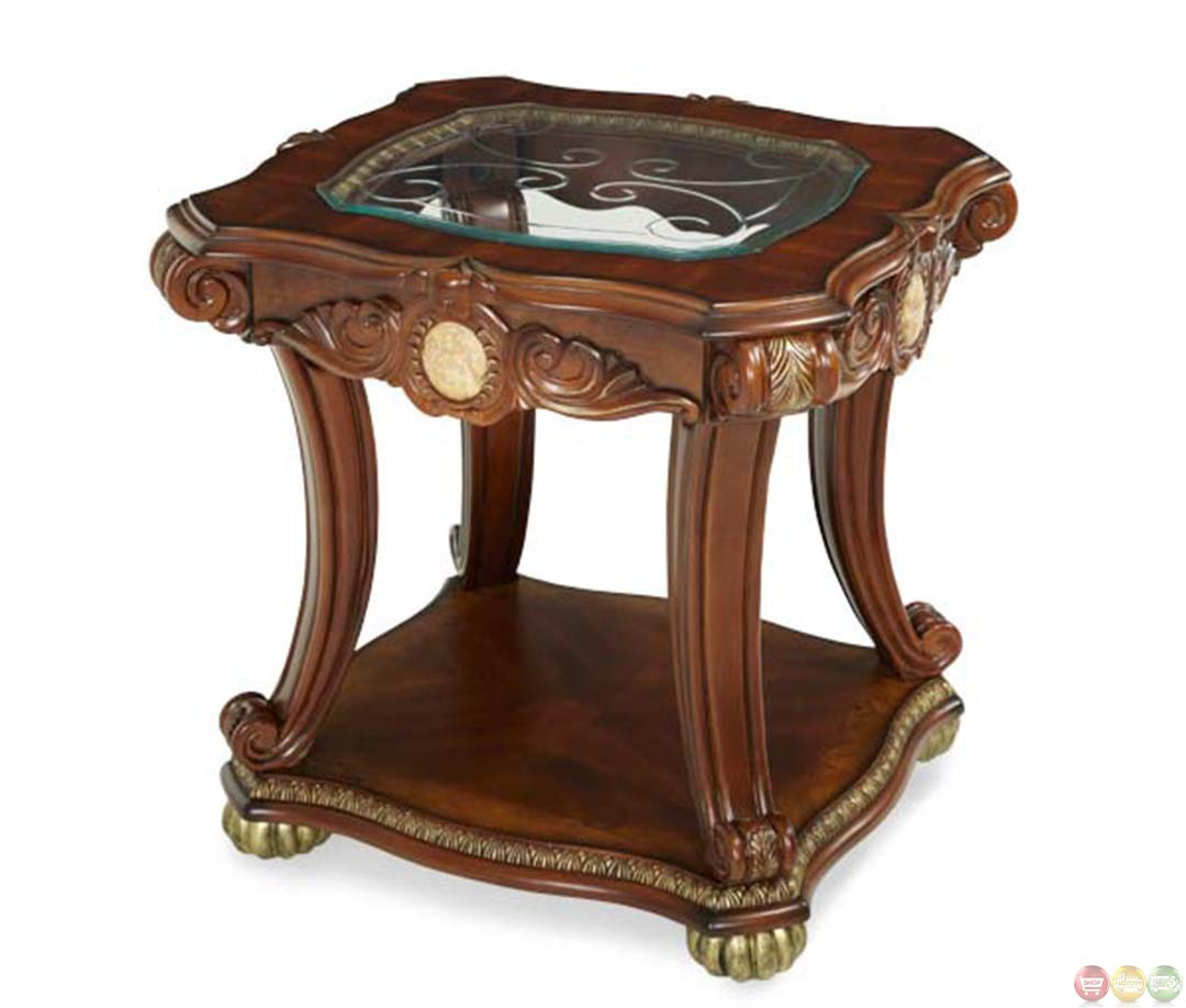 Michael Amini Cortina Traditional Honey Walnut End Table By AICO