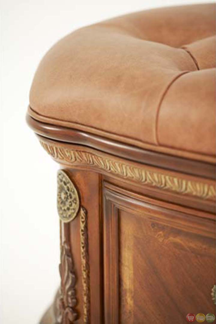 Michael Amini Cortina Traditional Leather Bedside Bench By