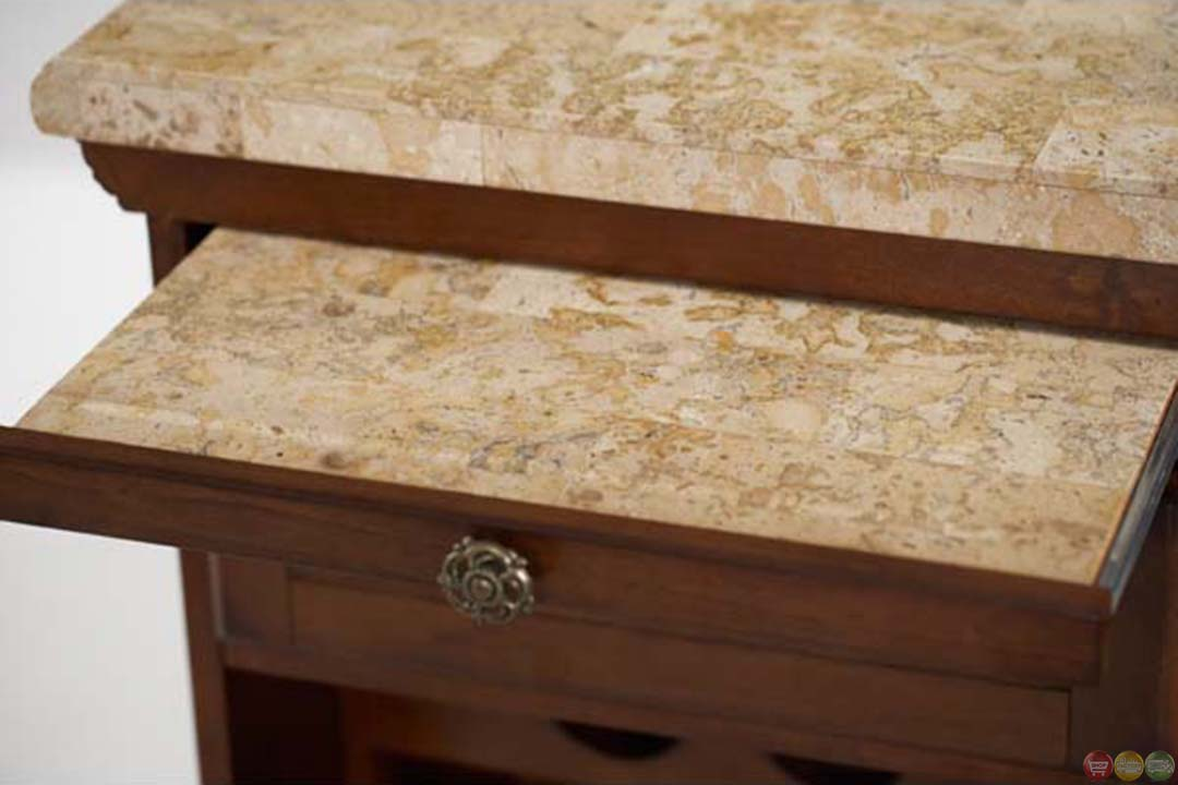 Michael Amini Cortina Marble Top Bar Solid Wood With