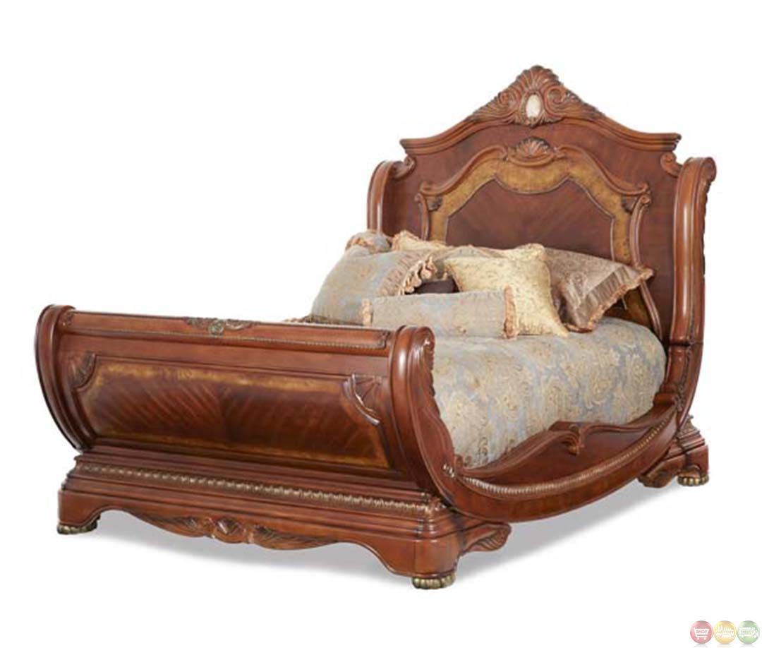 Queen Sleigh Bed : Michael Amini Cortina Traditional Queen Sleigh Bed by AICO