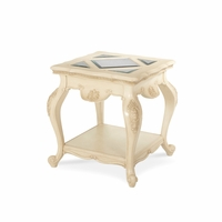 Michael Amini Lavelle Blanc Finish Regal French Culture End Table by AICO