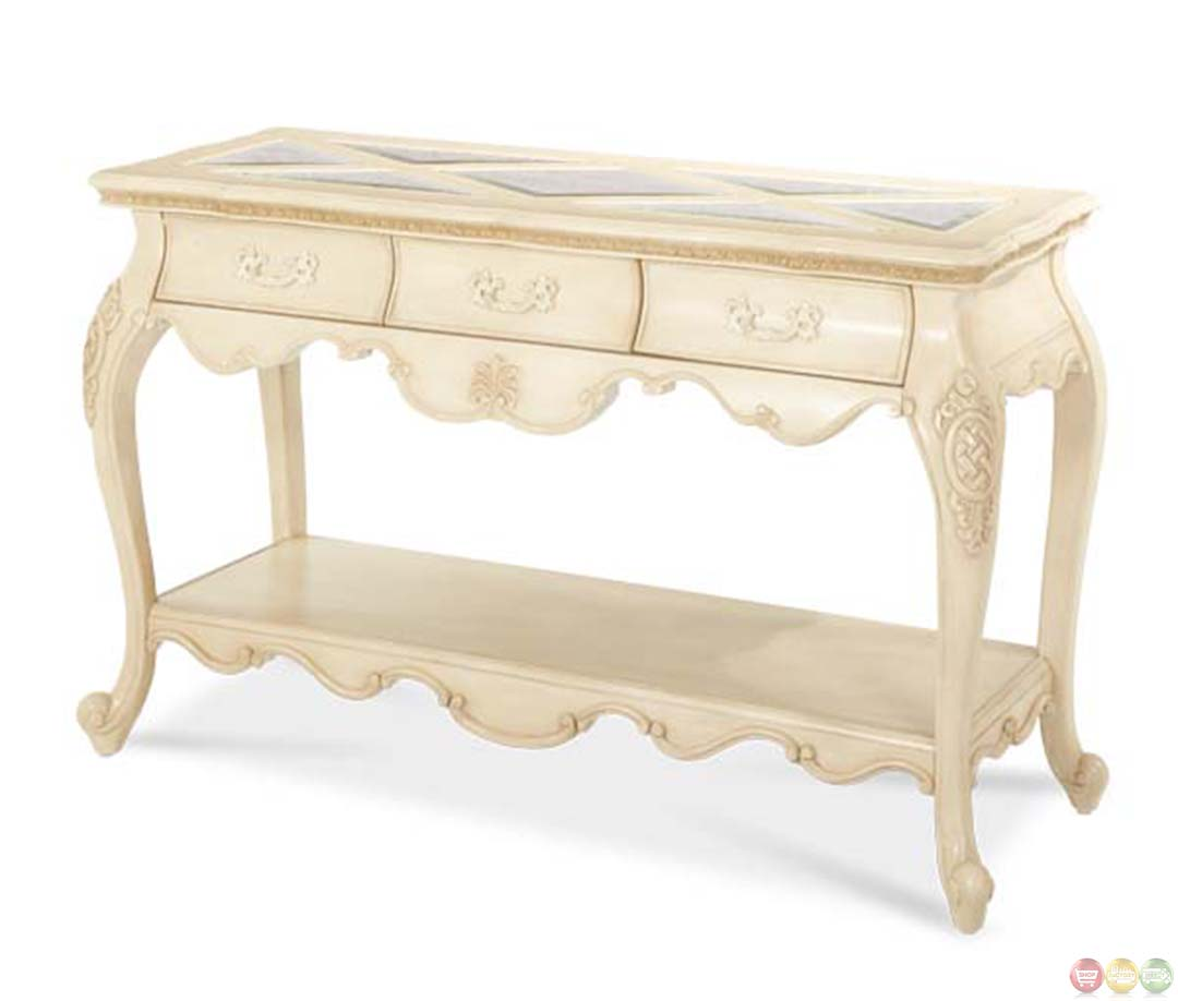 Michael amini lavelle blanc finish traditional console table by aico - Table console blanc laque ...