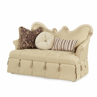 Michael Amini Lavelle Blanc Finish Traditional Wood Trim Settee by AICO