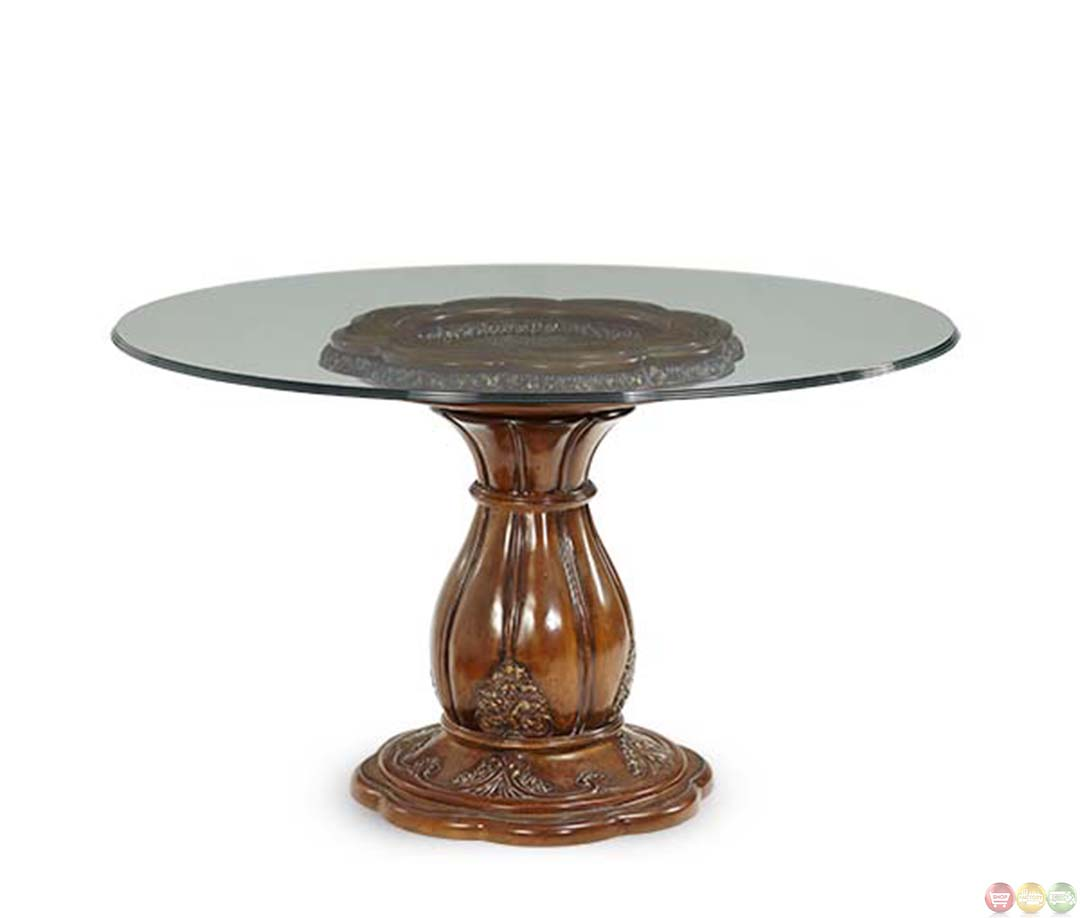 Michael Amini Lavelle Melange 54 Inch Round Glass Top Dining Table By AICO