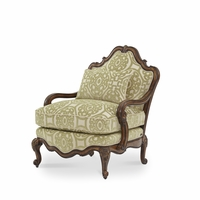 Michael Amini Lavelle Melange Traditional Bergere Wood Chair by AICO