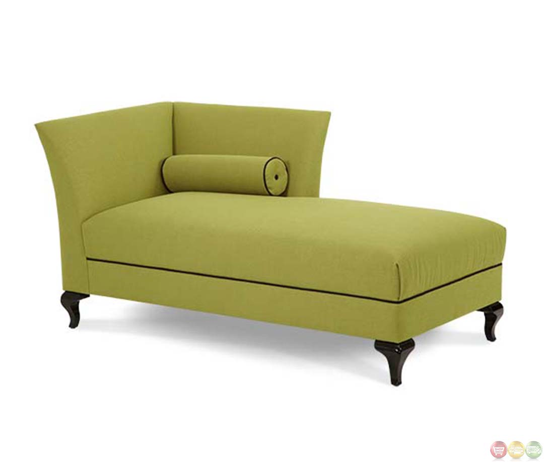 Michael Amini After Eight Green Fabric Upholstered Chaise