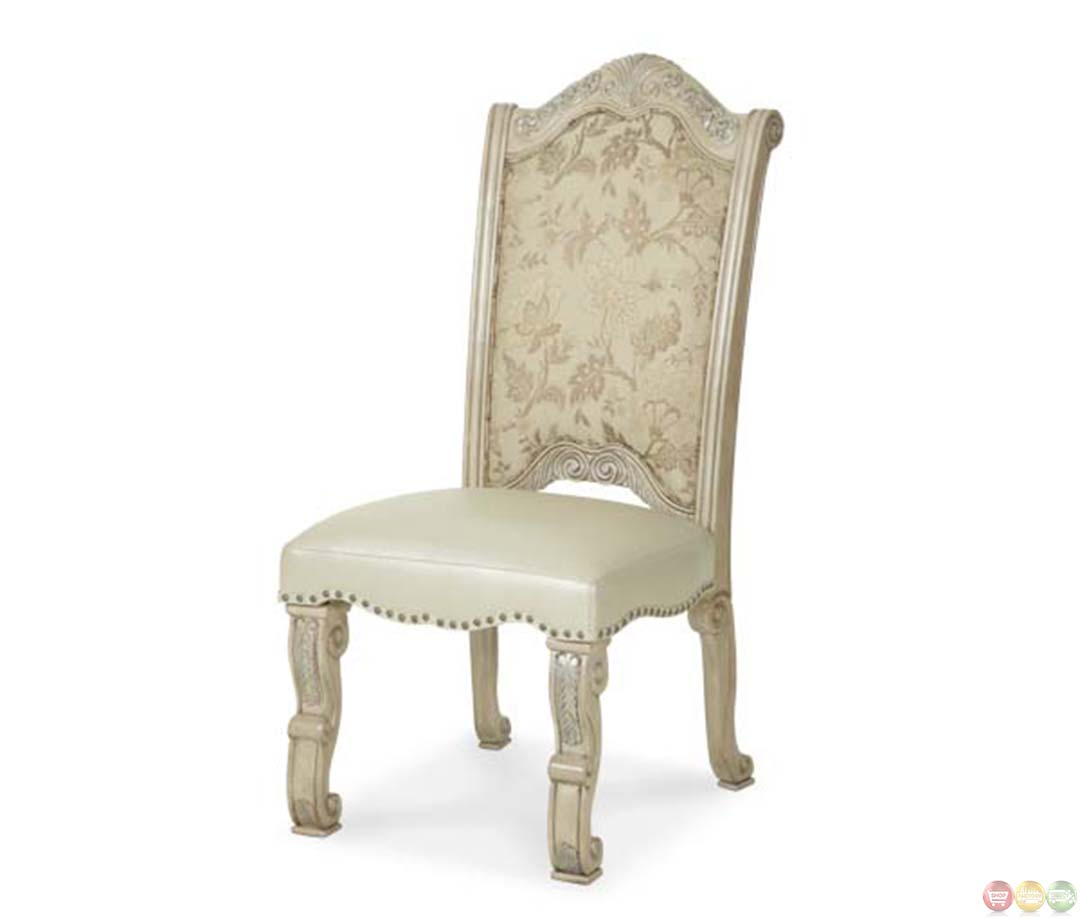 Michael Amini Dining Room Furniture: Michael Amini Monte Carlo II Silver Pearl Traditional Side Chairs By AICO
