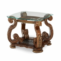 Michael Amini Oppulente Acanthus Leaf Traditional Style End Table by AICO