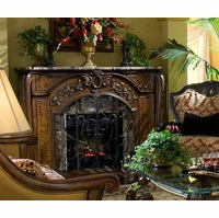Michael Amini Oppulente Fireplace with Optional Marble Top & Electric Heater Insert