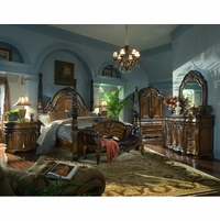 Michael Amini Oppulente Luxury Poster Bed Carved Wood Bedroom Set AICO