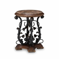 Michael Amini Oppulente Marble Top Traditional Chair Side Table by AICO