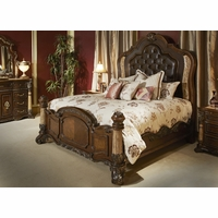 Michael Amini Victoria Palace Bedroom Set with Panel Bed in Light Espresso by AICO