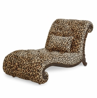 Michael Amini Victoria Palace Leopard Print Armless Chaise by AICO