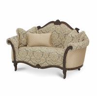 Michael Amini Victoria Palace Light Espresso Finish Wood Trim Settee by AICO